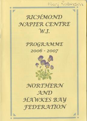 Programme, Richmond Napier Centre Women's Institute, 2006-2007