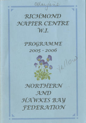 Programme, Richmond Napier Centre Women's Institute, 2005-2006; Richmond Napier Centre Country Women's Institute; 2016/26/3