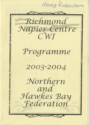 Programme, Richmond Napier Centre CWI, 2003-2004