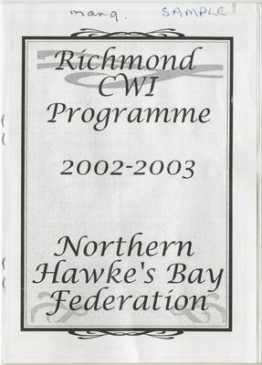 Programme, Richmond CWI, 2002-2003; Richmond Women's Institute; 2016/26/6