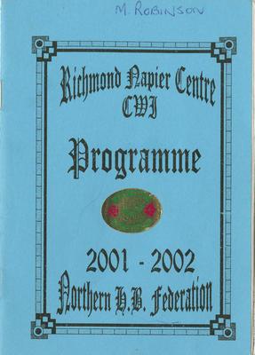 Programme, Richmond Napier Centre CWI, 2001-2002