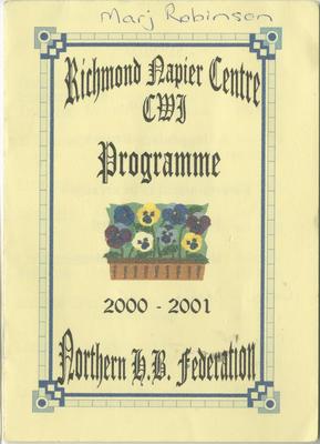 Programme, Richmond Napier Centre CWI, 2000-2001