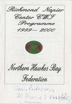 Programme, Richmond Napier Center CWI, 1999-2000; Richmond Napier Centre Country Women's Institute; 2016/26/9
