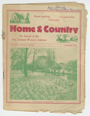 Magazine, Home & Country: The Journal of the New Zealand Women's Institutes, November 2 1936