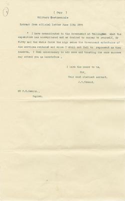 Letter,  J D Ormond