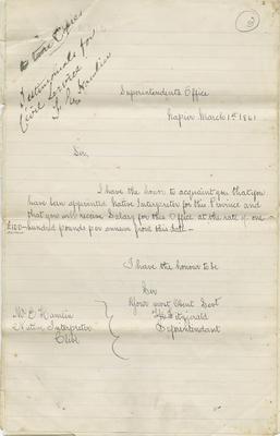 Letter, T H Fitzgerald