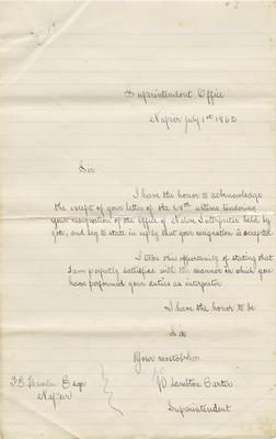 Letter, J C Lambton Carter