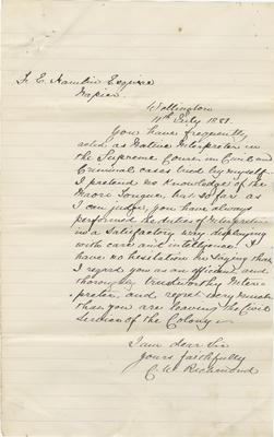 Letter, C W Richmond; Richmond, Christopher William; 2016/31/9