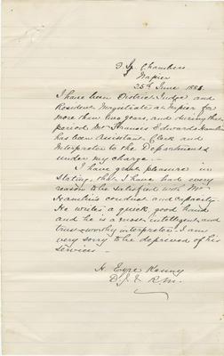 Letter, District Judge H Eyre Kenny