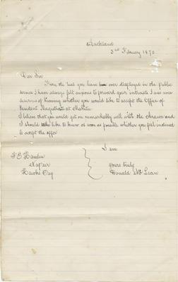 Letter, Donald McLean