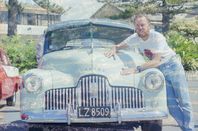 Ron Williams with Holden Car, Marine Parade, Napier