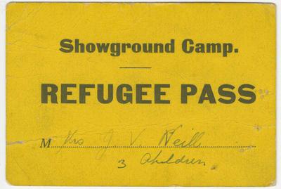 Refugee Pass, Mrs J V Neill