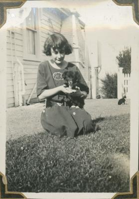 Nora Nicol with puppy