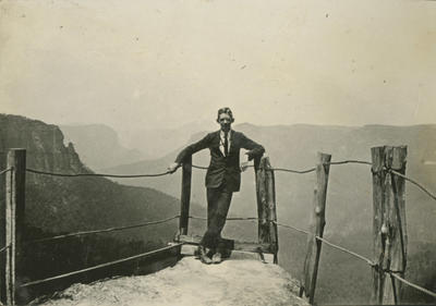 Man at mountain lookout, Sydney