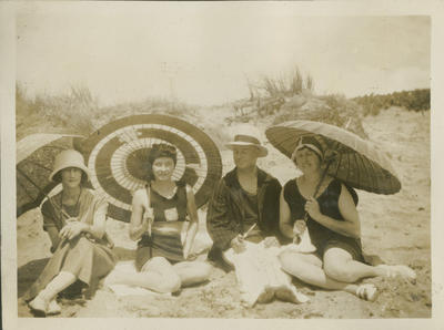 Nora Nicol and friends at the beach