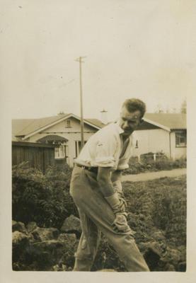 Gordon Brebner working in the garden