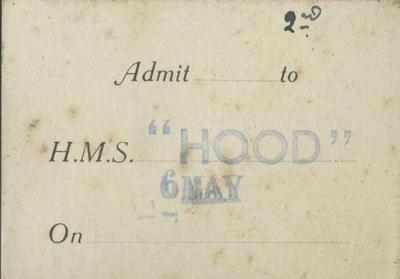 Ticket, HMS Hood