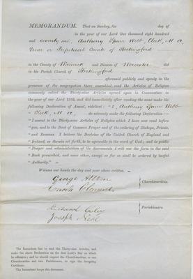Memorandum, Anthony Spurr Webb