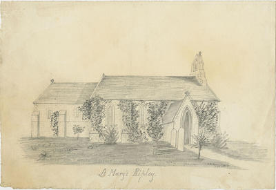 Pencil sketch, St Mary's Anglican Church, Ripley