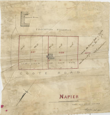 Map, Napier sections between Coote Road and Education Reserve