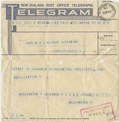 Mobilisation telegram; New Zealand Post Office Telegraphs; 2018/9/3
