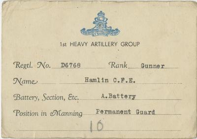 Military Identification Card, C F E Hamlin