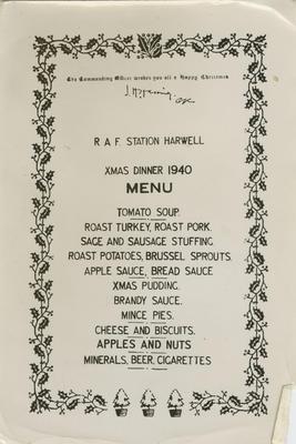 Menu, Xmas Dinner 1940, RAF Station Harwell