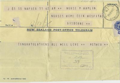 Telegram, Molly Hamlin from her mother