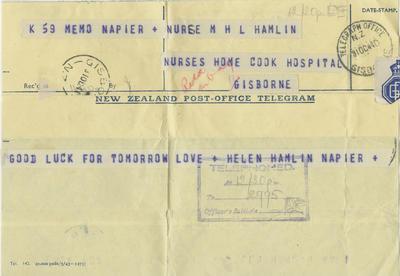 Telegram, Helen Hamlin to her sister Molly