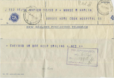 Telegram, Ned Hamlin to to his sister Molly