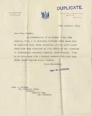 Letter, High Commissioner for New Zealand to Mrs C Hamlin