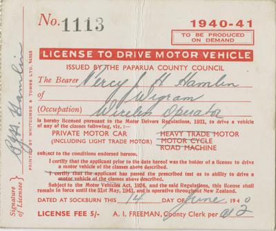 Driver's License, Percy J H Hamlin