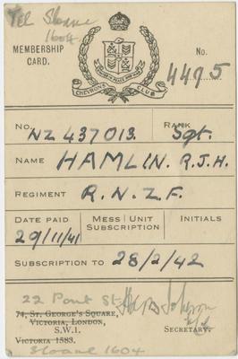 Membership Card, P J H Hamlin; 2018/9/81