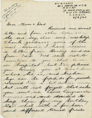 Letter, Percy Hamlin to Mum and Dad