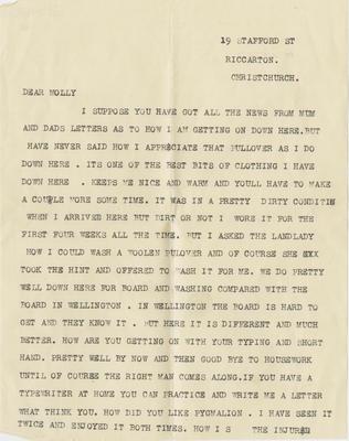 Letter, Percy Hamlin to his sister Molly; Hamlin, Percy John Havelock; 2018/9/84