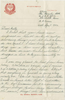 Letter, Henry Hamlin to his sister to Molly