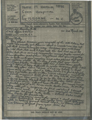 Airgraph letter, Henry Hamlin to his sister Molly