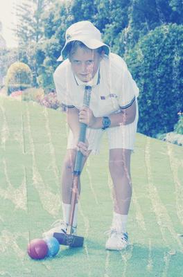 Marewa Croquet Club's youngest member, nine-year-old Gavin Versey