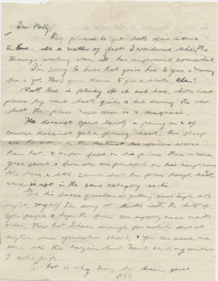 Letter, Ned Hamlin to his sister Molly