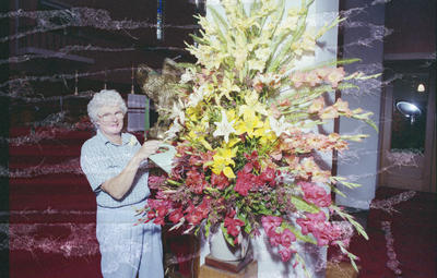 St John's Cathedral flower guild, Mary Collier was on hand to tend the display
