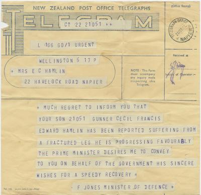 Telegram, Minister of Defence to Mrs E C Hamlin