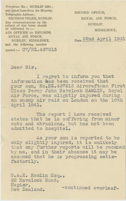 Letter, Royal Air Force Air Officer i/c Records to C.A.E. Hamlin