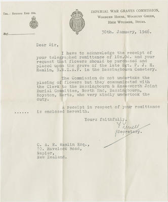Letter, Imperial War Graves Commission to C.A.E. Hamlin; Imperial War Graves Commission; 2018/9/121