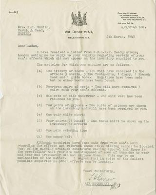 Letter, Air Department to Mrs E.C. Hamlin