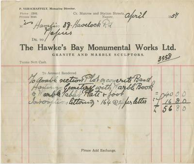 Invoice, The Hawke's Bay Monumental Works Ltd.