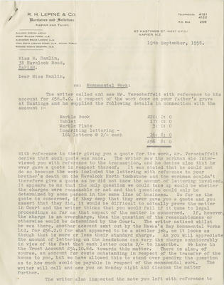 Letter, R H LePine & Co to Miss M Hamlin