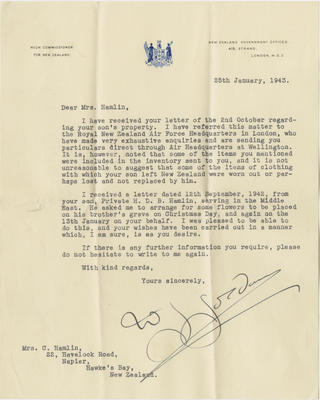 Letter, High Commissioner for New Zealand; 2018/9/131
