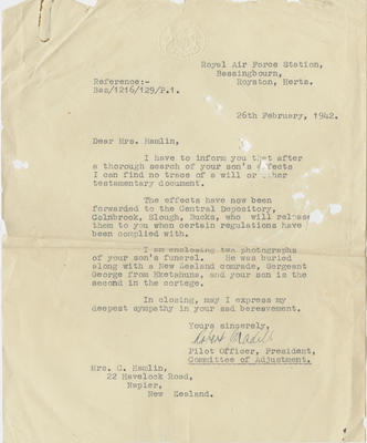 Letter, RAF to Mrs Hamlin, and two funeral photographs