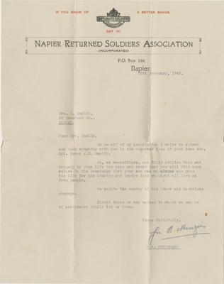 Letter, Napier RSA to Mrs Hamlin
