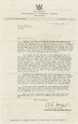 Letter, Department of Internal Affairs to Mrs C Hamlin